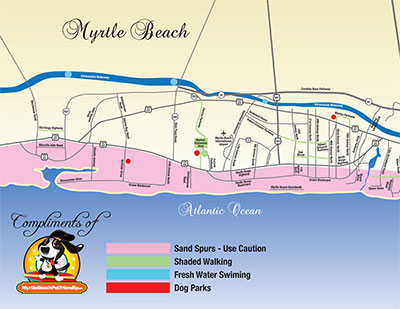 Map of Myrtle Beach Pet Friendly attractions