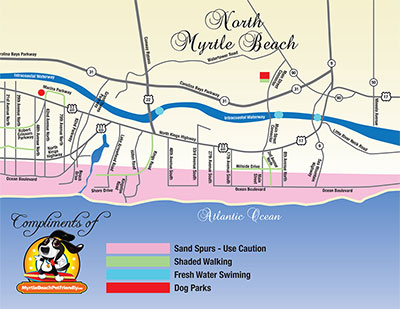 Map of North Myrtle Beach Pet Friendly Attractions